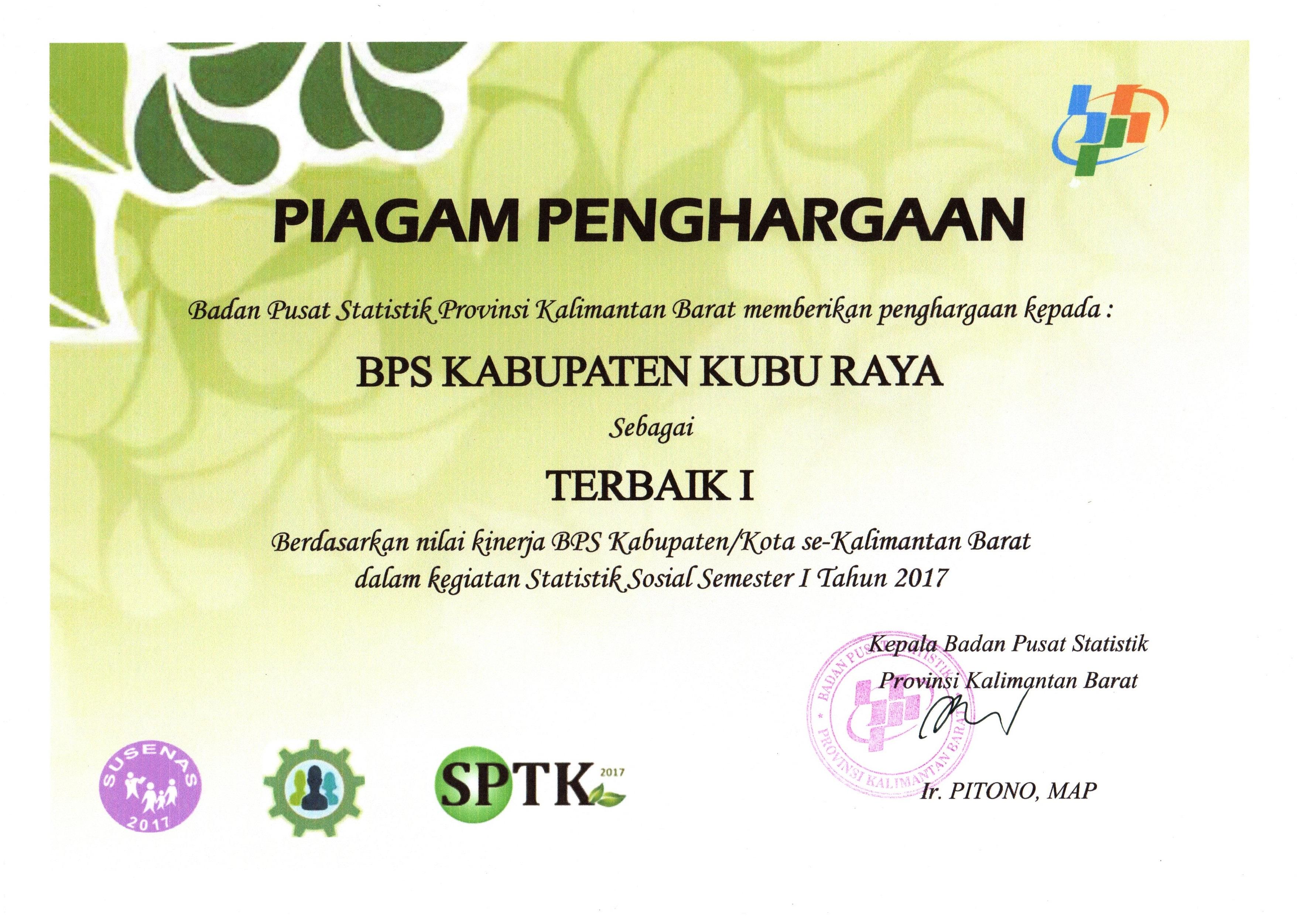 peringkat 1 kegiatan statistik sosial se-Kalimantan Barat